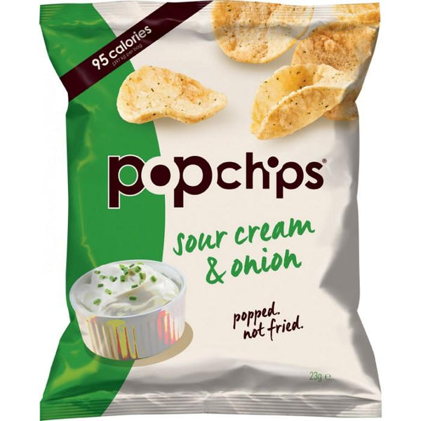 Grocery Delivery London - Popchips Sour Cream & Onion Popped Potato Chips 23g same day delivery