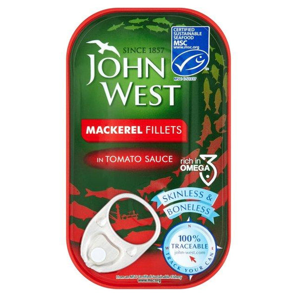 Grocemania Grocery Delivery London| John West Mackerel Fillets in Tomato Sauce 125g