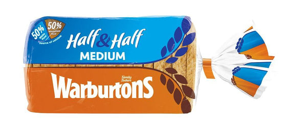 Grocemania Grocery Delivery London| Warburtons Half & Half Medium Bread 800g