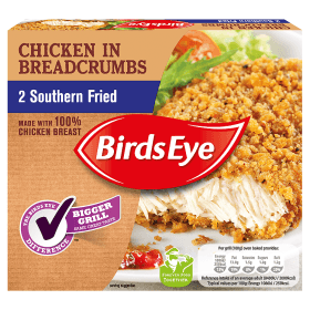 Grocemania Grocery Delivery London| Bird's Eye 2 Southern Fried Chicken In Breadcrumbs 200g