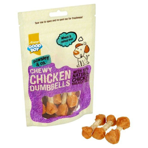 Grocemania Grocery Delivery London| Good Boy Chewy Chicken Dumbbells 100g