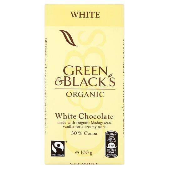 Grocery Delivery London - Green & Black's Organic White 100g same day delivery