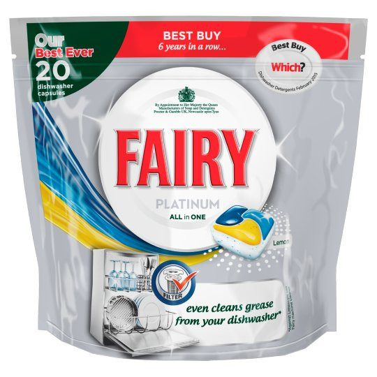 Grocery Delivery London - Fairy Platinum Lemon Dishwasher Tablets 20 Pack same day delivery