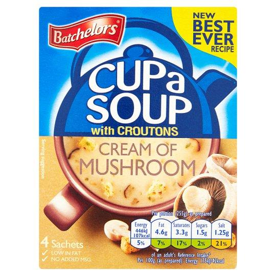 Grocemania Grocery Delivery London| Batchelors Cup A Soup Cream Of Mushroom Croutons 4 Pack 99g