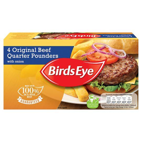 Grocemania Same Day Grocery Delivery London | Birds Eye 4 Original Beef Quater Pounders 454g