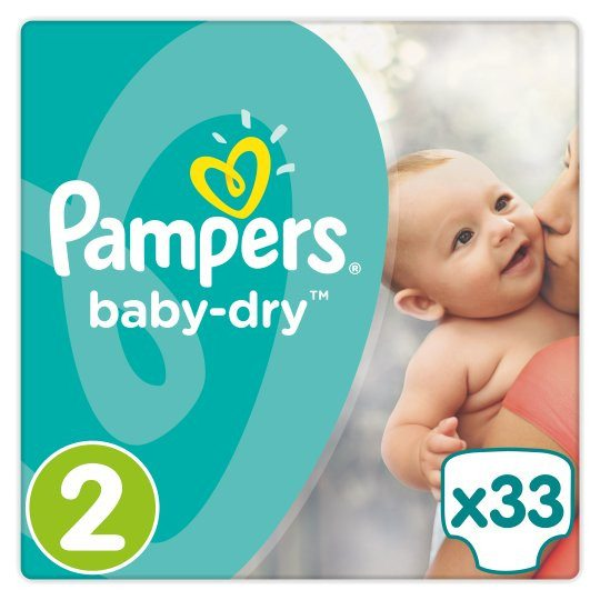 Grocemania Grocery Delivery London| Pampers Baby Dry Size 2 Essential Pack 33 Nappies