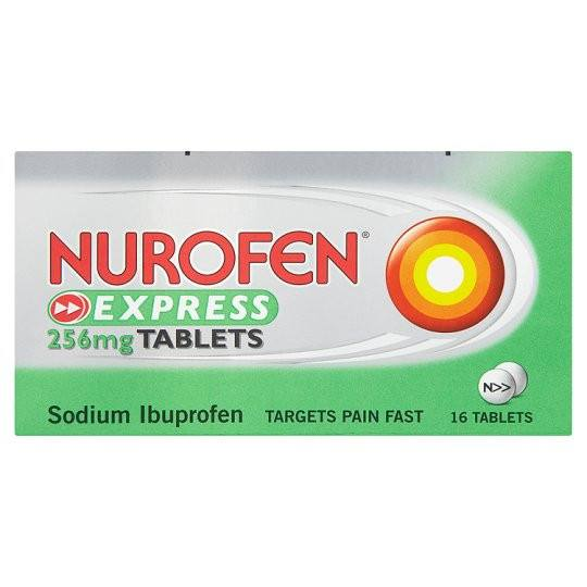 Grocemania Grocery Delivery London| Nurofen Express Ibuprofen 256mg Tablets 16 Pack