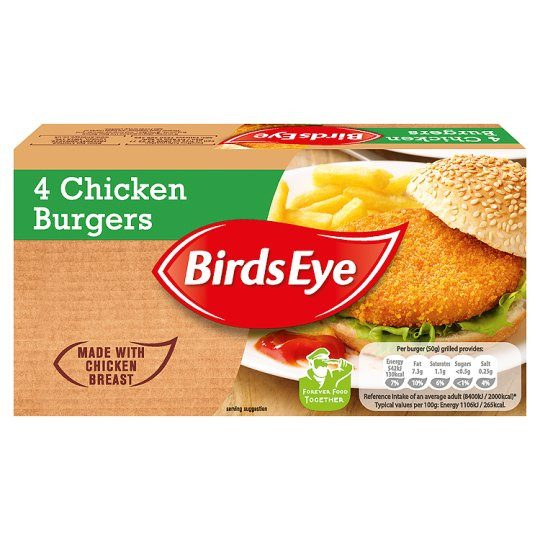 Grocemania Grocery Delivery London| Bird's Eye 4 Chicken Burgers 200g