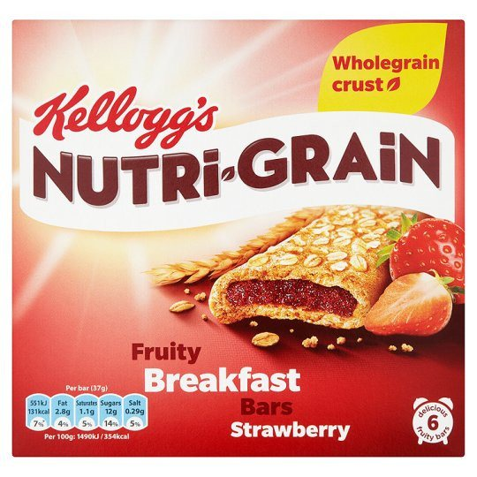 Grocery Delivery London - Kelloggs Nutrigrain Strawberry 6X37g same day delivery