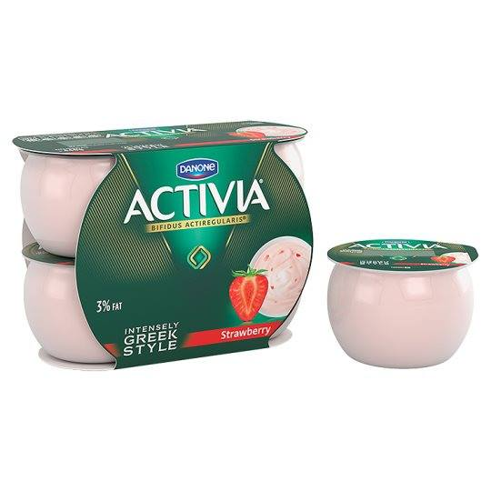 Grocemania Grocery Delivery London| Danone Activia Intensely Creamy Strawberry 4X110g