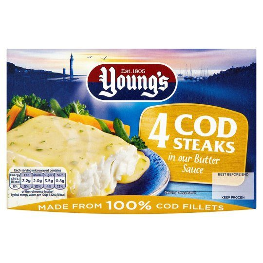 Youngs 4 Cod Steaks In Butter Sauce 560g - Grocemania