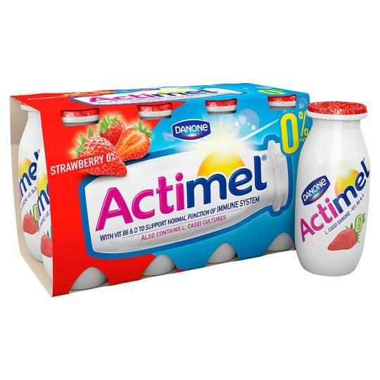 Grocery Delivery London - Danone Actimel Strawberry Fat Free Drink 8X100g same day delivery