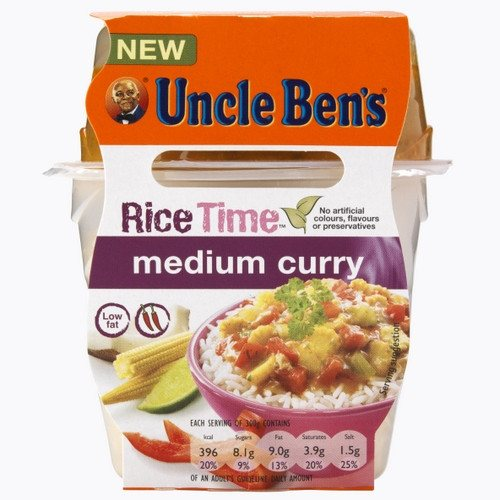 Grocemania Grocery Delivery London| Uncle Bens Rice Time Medium Curry 300g
