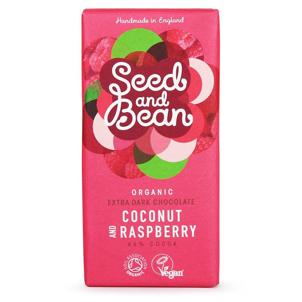 Grocery Delivery London - Seed & Bean Organic Dark Chocolate - Coconut & Raspberry 85g same day delivery