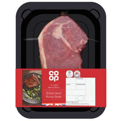 Grocery Delivery London - Co-Op 14 day Matured British Reef Rump Steak 227g same day delivery
