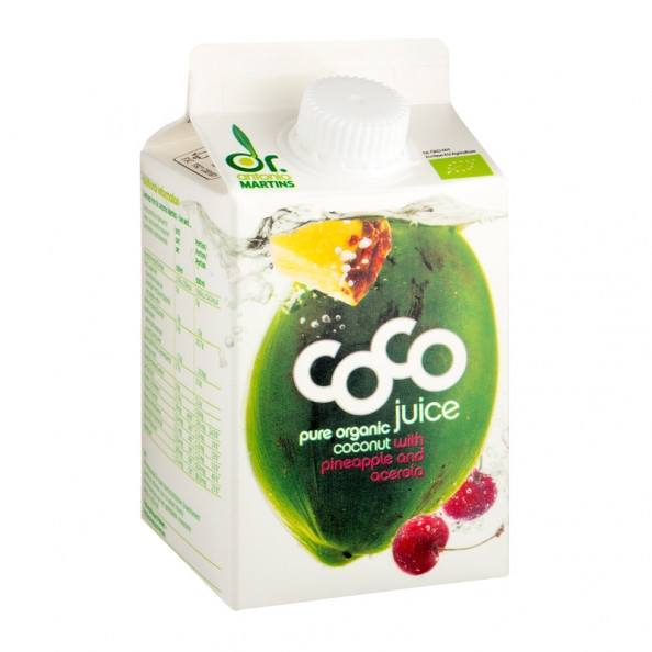 Grocery Delivery London - Dr.Martins Coco Juice with Pinapple & Acerola 500ml same day delivery
