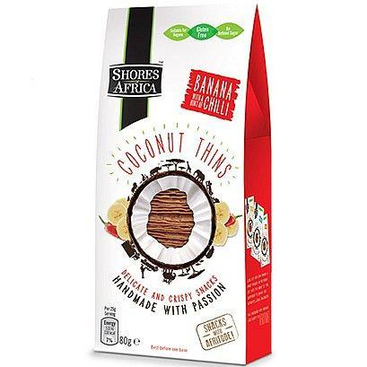 Grocery Delivery London - Shores of Africa Coconut Thins Banana & Chilli 80g same day delivery