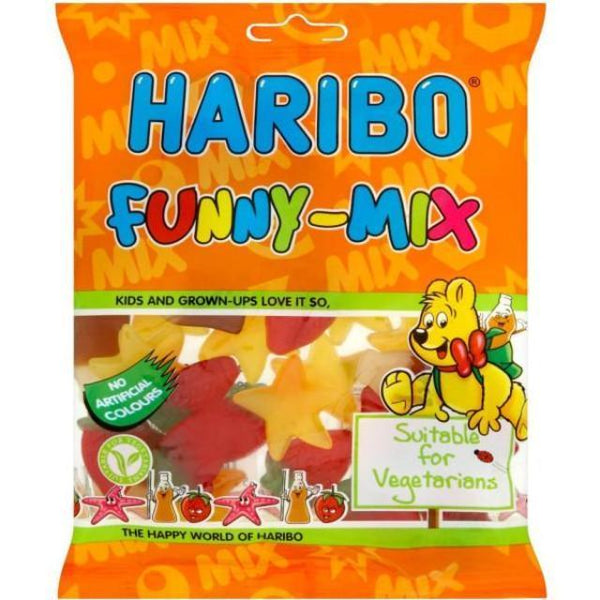 Grocemania Grocery Delivery London| Haribo Funny Mix - Suitable for Vegetarians 140g
