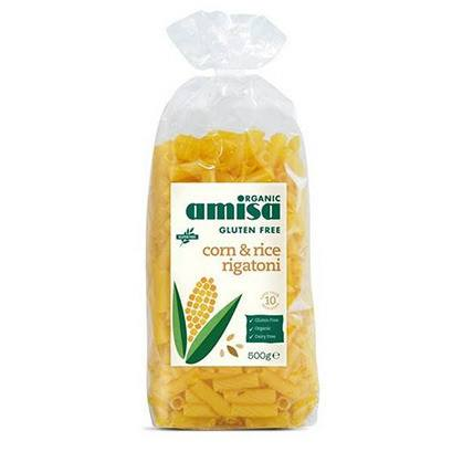 Grocemania Grocery Delivery London| Amisa Organic Gluten Free Corn & Rice Rigatoni 500g