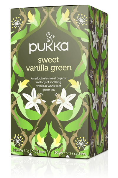 Grocemania Grocery Delivery London| Pukka Herbs Sweet Vanilla Green Tea 20 sachets