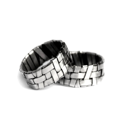 shop for wedding rings online - silver woven rings by jewellery designer gurgel-segrillo