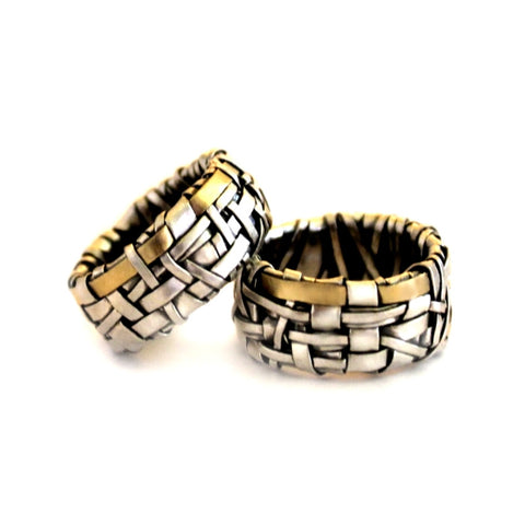 woven series partnership rings made to order by jewellery designer gurgel-segrillo handcrafted in silver and gold,