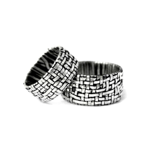 woven series partnership rings made to order by jewellery designer gurgel-segrillo handcrafted in silver