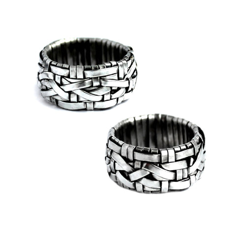 woven series partnership rings made to order by jewellery designer gurgel-segrillo