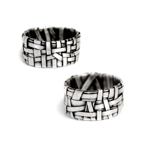 alternative same-sex wedding rings handcrafted in oxidised silver by jewellery designer gurgel-segrillo, love is love