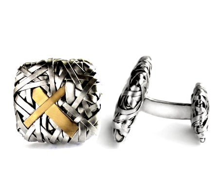 woven squares cufflinks handcrafted in silver and gold by contemporary jewellery designer gurgel-segrillo