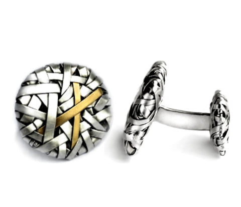 cufflinks woven in silver and gold by contemporary jewellery designer-maker P Gurgel-Segrillo