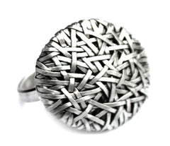'woven' series rings -celebrating Life and its crossroads - created by Irish-Brazilian artist designer maker P Gurgel-Segrillo