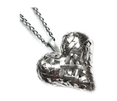 woven 3D heart pendant, handcrafted in silver by contemporary jewellery designer gurgel-segrillo