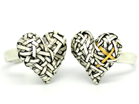 heart love promise rings handcrafted in silver and gold by art jewellery designer gurgel-segrillo