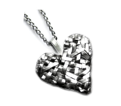 woven heart pendant handcrafted in silver  by studio jewellery designer gurgel-segrillo