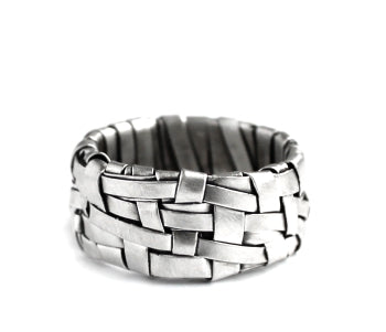 woven silver ring band handmade in silver by designer-maker P Gurgel-Segrillo