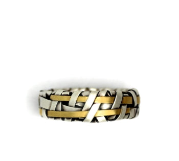 shop online unique ring woven in silver and gold by contemporary jewellery designer gurgel-segrillo