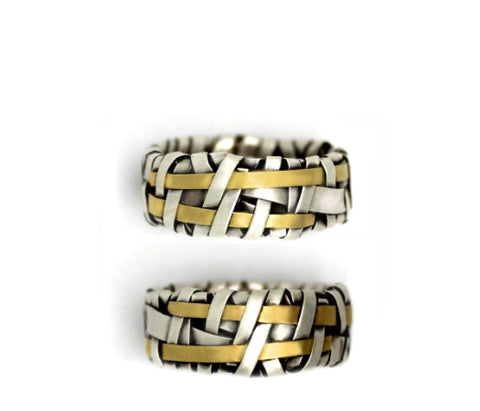 shop online woven wedding rings handcrafted in silver and gold by art jewellery designer gurgel-segrillo, love is love