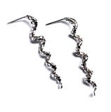 silver spiral earrings handcrafted in silver  - art jewellery by artist gurgel-segrillo
