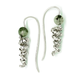 silver spiral earrings handcrafted in silver and rutilated quartz - art jewellery by artist gurgel-segrillo
