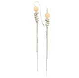 silver spiral earrings woven in silver with peach agate - art jewellery by artist gurgel-segrillo