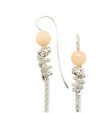silver spiral earrings handcrafted in silver and peach agate - art jewellery by artist gurgel-segrillo