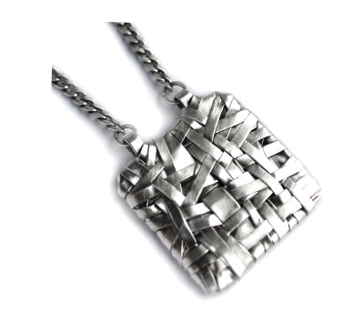 woven square pendant handcrafted in fine silver by brazilian Irish artist designer maker gurgel-segrillo