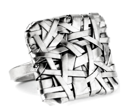 woven square ring mixed weave, handcrafted in silver by contemporary jewellery designer gurgel-segrillo