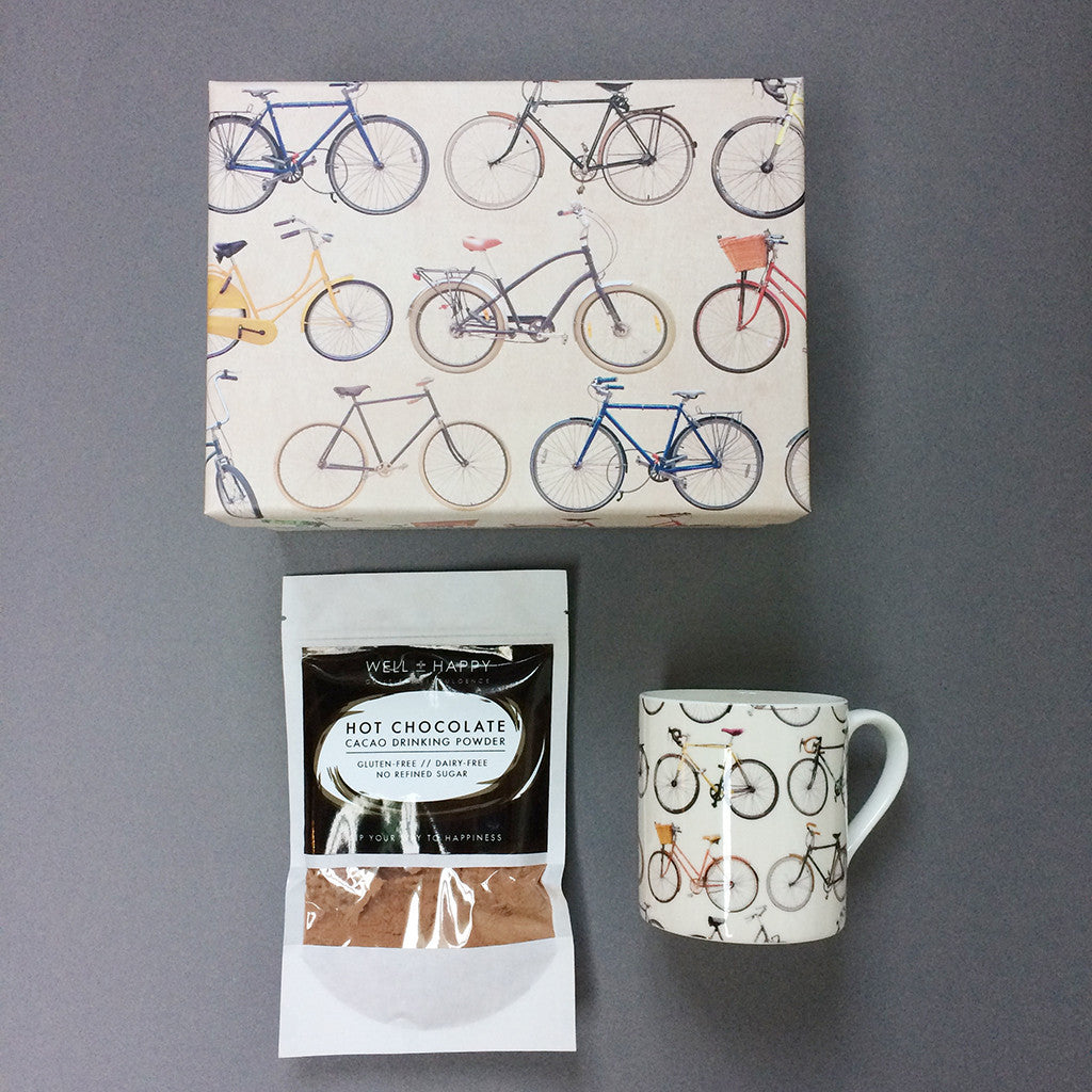 Bikes of Hackney mug with Well & Happy hot chocolate