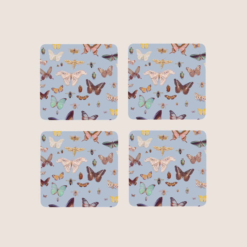 Bugs and Butterflies coasters set of 4