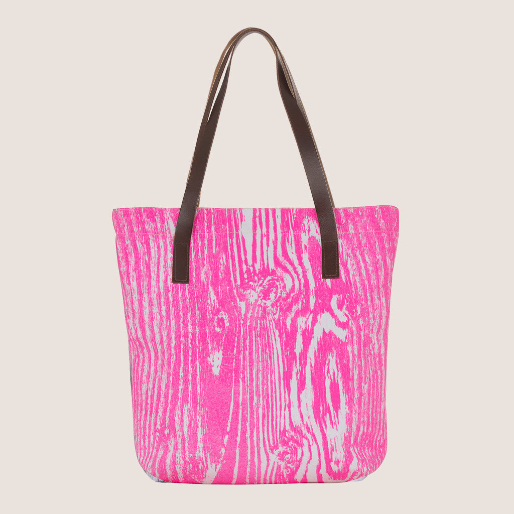 Wood Grain Fluoro Pink tote bag
