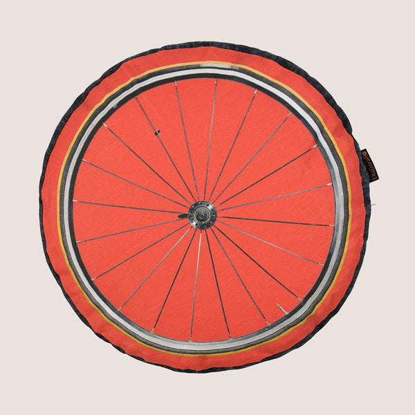 Bike Wheel Red cushion with gusset discounted due to small marks