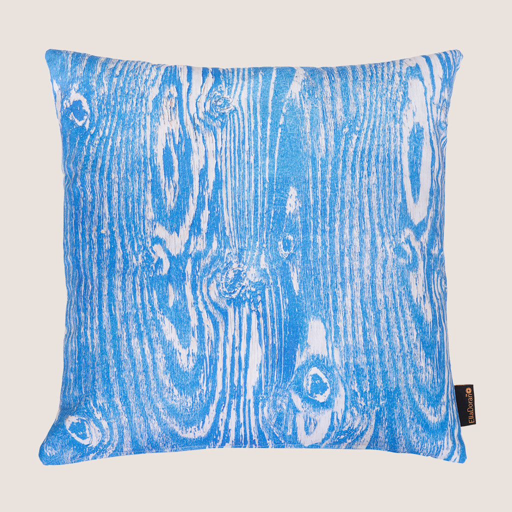 Ella Doran Wood Grain Blue cushion digitally printed & made in the UK  www.elladoran.co.uk