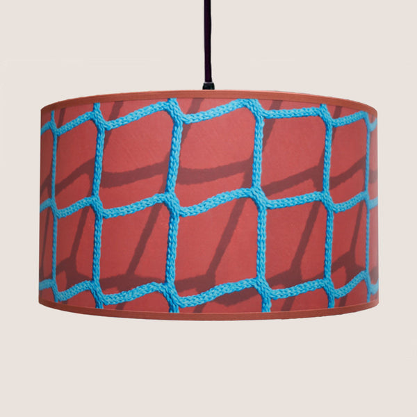 "Blue Rope on Red 18"" lampshade"